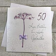 """White Cotton Cards BD 42–50""""Motif Pissenlit Happy Birthday to a Lovely Marraine 50 cm Carte 50e Anniversaire Faite à la Main Blanc"""