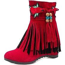 COOLCEPT Damen Klassische Herbst Fransen mit Absatz Stiefel Zip (38 As, Red)
