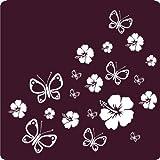 kleb-drauf® - 12 Hibiskusblüten und 12 Schmetterlinge / Blau - glänzend - Aufkleber zur Dekoration von Autos, Motorrädern und allen anderen glatten Oberflächen im Außenbereich; aus 19 Farben wählbar; in matt oder glänzend