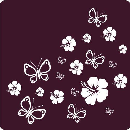 kleb-drauf® - 12 Hibiskusblüten und 12 Schmetterlinge / Weiß - glänzend - Aufkleber zur Dekoration von Autos, Motorrädern und allen anderen glatten Oberflächen im Außenbereich; aus 19 Farben wählbar; in matt oder glänzend