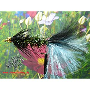 "Streamer "" Wooly Bugger Frizz Black Blue Bead Head "" 3er Set Hakengröße 4"