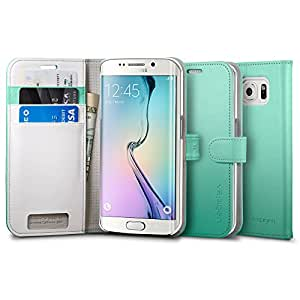 Housse Galaxy S6 EDGE, Spigen® [Fonction Support] Housse Portefeuille pour Galaxy S6 EDGE [Wallet S] [Mint] Housse Portefeuille avec Support Horizontal pour Galaxy S6 EDGE - Mint (SGP11435)