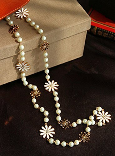 Leiothrix Daisy & Pearl Alloy Long Necklace for Women and Girls Apply to Weeding Party Casual