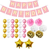 Belle Vous Happy Birthday Banner in White, Pink and Gold - 33 Pcs Birthday Party Decorations Garland, Star Foil Balloons, Paper Pom Poms and Latex Balloons - Birthday Decoration Supplies