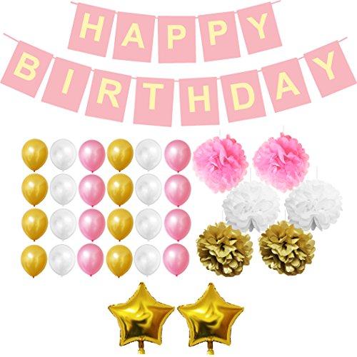 BELLE VOUS 33 Pcs Decoración Cumpleaños Set - Fuentes del Partido para el Cumpleaños - Happy Birthday Pancarta, Globos Látex, Pompones de Papel, Estrella Frustrar Globos en Color Rosa Dorado Blanco