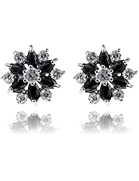 Yazilind Dazzling Rhodium Plated Colorful Pear Cut Flawless Cubic Zirconia Flower Claw Stud Earrings