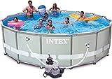Intex Ultra Frame Pool Set, Sandfilteranlage 4.542 l/h, Leiter, Abdeckplane, Bodenschutzplane, 488 x 122 cm