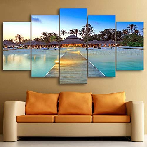 Alinggan Decor Home Wohnzimmer 5 Stücke Sea Bridge Palm Trees Haus Seascape Bilder Hd Gedruckt Leinwand Gemälde Wandkunst-C-Rahmen (Tree Palm Haus)