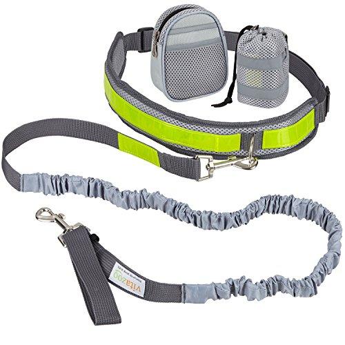 VITAZOO Jogging Hundeleine mit Bauchgurt in royalgrau, elastisch 1,2 m - 2,0 m, mit Reflektor-Streifen, ideal für mittelgroße und große Hunde | 2 Jahre Zufriedenheitsgarantie | Jogging-Leine, freihändig Joggen oder Spazieren gehen mit Hund