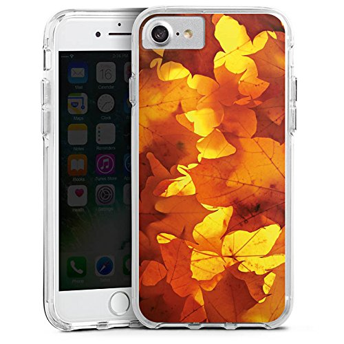 Apple iPhone X Bumper Hülle Bumper Case Glitzer Hülle Herbst Autumn Blaetter Bumper Case transparent