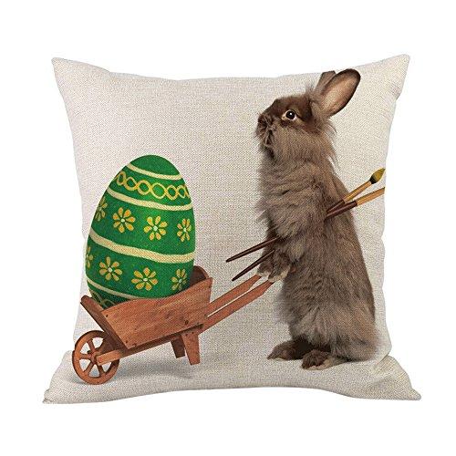 2019 nuovo trendy pasqua piazza 45cm×45cm/18×18 pollice lino cotone di lino super morbido divano - letto a casa decorazione festival coniglio uovo impronta federa cuscino by wudube