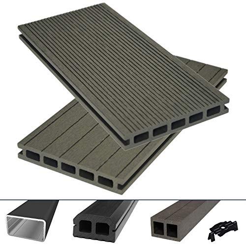 HORI® WPC/BPC Terrassendielen Komplettset I Hohlkammerdiele Bali grau I Dielenlänge 4 m I Fläche 28 m²