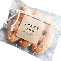 Emorias 100 Pcs Navidad Decoración Caja de Regalo Adhesivo Lindo Punto Literario Papel de Caramelo Galletas Bolsa de Celofán