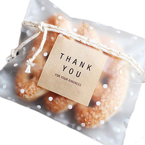 unkt Christmas Taschen Snackbeutel Transparent Weihnachten Klein Cookie Tütchen Selbstklebendes Süßigkeiten Taschen (Christmas Cookie-taschen)