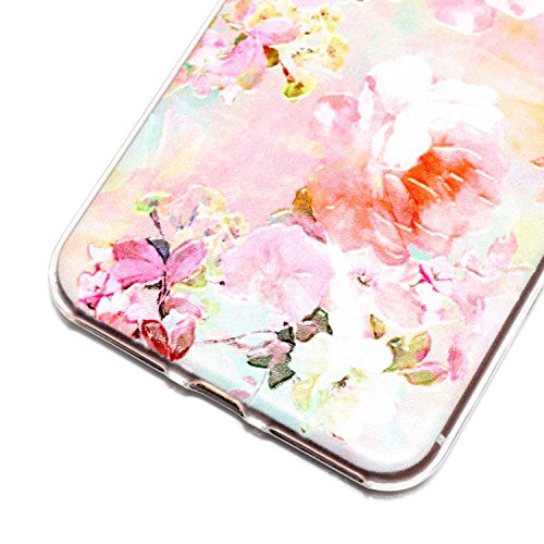 iPhone 7 Plus Hülle, iPhone 7 Plus Hülle Transparent, iPhone 7 Plus Hülle TPU Case Schutzhülle Silikon Case, Cozy Hut ®[Liquid Crystal] 3D Romantik Flower Animal Cartoon Series Transparent Weiche Sili Pfingstrose