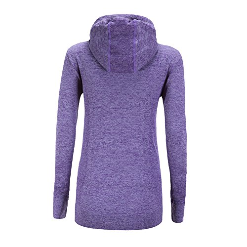 Les femmes à manches longues Running Top femmes Zip Running Sweat à capuche Sweatshirts, Yoga Haut Running veste avec poches à glissière Violet