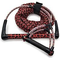 Jranter Water - Cuerda de esquí con Mango de Radio y empuñadura EVA, Color Amarillo y Negro, Unisex Adulto, Rojo, 70 Feet