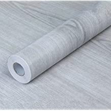 Papel de contacto autoadhesivo de PVC de WDragon, color gris, diseño de madera,