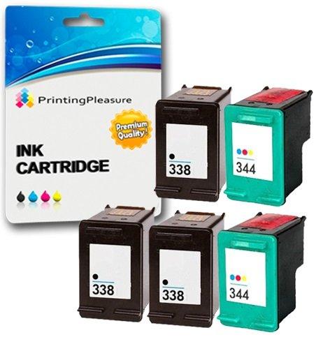 Printing Pleasure 5 Tintenpatronen kompatibel zu HP 338 344 für DeskJet 460 460c 460cb 6620 6840 9800 9860 Photosmart 2575 Pro B8330 Officejet 100 Mobile 6210 7210 7310 - Schwarz/Color, hohe Kapazität -