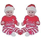 Janly Neugeborenen Outfits Buchstaben Hirsch Gedruckt + Gestreiften Lange Hosen Strampler für Nette Mädchen Jungen Meine Erste Weihnachtskleidung Sets (Rot, Alter: 0-3 Monate)