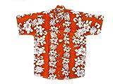 Ontop-Fashion Hawaiihemd Hawai Freizeit Hemd Shirt Viskose orange Blumenreihen weiß, Größe:L