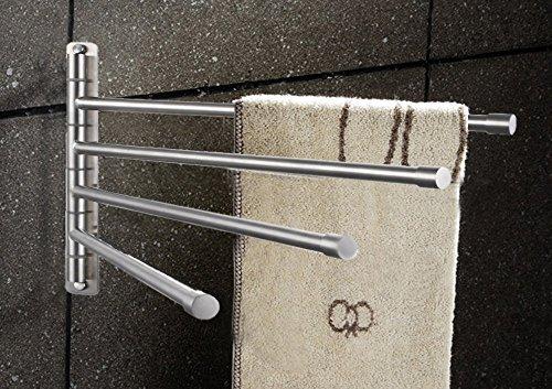 Porta Asciugamani per Montaggio a Parete Portasciugamani in Acciaio Inossidabile 304 Organizzatore Accessori Bagno Argento Acciaio Inox Spazzolato