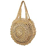 Abuyall Sac de paille femmes Weave mignon forme ronde Summer Beach fourre-tout Shopping Mode sac ¨¤ bandouli¨¨re Zip Large Cc