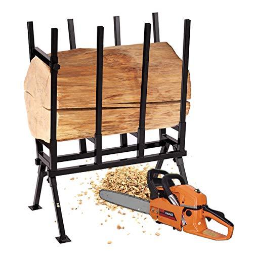 COSTWAY Caballete de Sierra de Metal Plegable Soporte para Serrar Leña Carga hasta 200 kg
