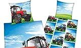 Herding YOUNG COLLECTION Parure de Lit, Réversible, Tracteur, Housse de Couette 135 x 200 cm, Taie d'Oreiller 80 x 80 cm, Coton/Renforcé...