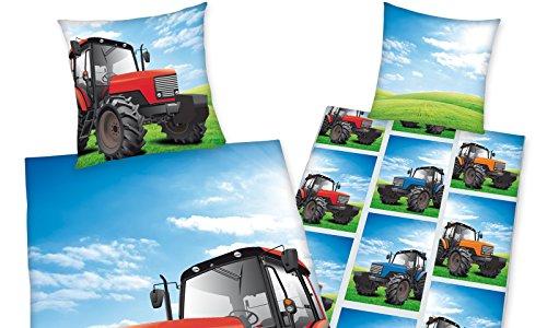 Bettwäsche Young coll, Traktor, Kopfkissenbezug 80x80cm, Bettbezug 135x200cm, Renforce, mit...