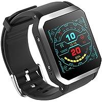 MXueei Smarte Uhren ZfgG Bluetooth Android Smart Watch Fitness Tracker 3G Quadratischen Bildschirm IP68 Wasserdicht GPS Echtzeit Herzfrequenz Mode 512 + 8 GB Perfekter Wohnassistent (Farbe : Silber)