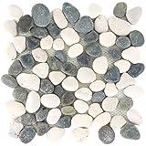Kieselmosaik Fliesen Xanthos Schwarz Weiss | Wandfliesen | Mosaik-Fliesen | Glas-Mosaik | Fliesen-Bordüre | Ideal für den Wohnbereich und fürs Badezimmer (auch als Muster erhältlich)