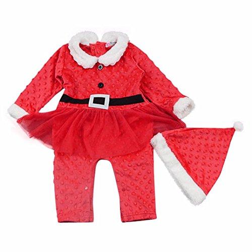 Bekleidung Longra Kind Baby Mädchen Weihnachten Kristall samt Langarm-Trikot Klettern Kleidung Strampler Kiled+ Santa Hute (90)