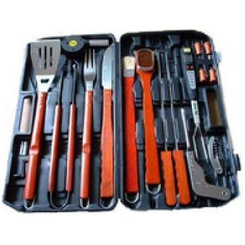 18piezas piezas Barbeque Barbacoa de acero inoxidable accesorios para barbacoa maletín Cubiertos