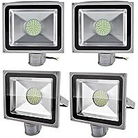 Leetop 4X Interior y Exterior 50W LED Focos Blanco Frio con Sensor de Movimiento, con Fijación Colgar y Kit de Tornillos, Waterprooff IP65