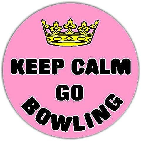 Keep Calm Go Bowling Auto Adesivi / Car Sticker Sign - Decal Bumper Sign - Pink