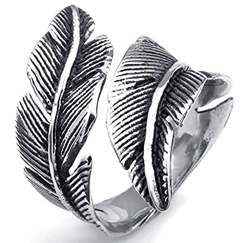Mens Rings Stainless Steel Retro Feather Silver UK P 1/2 by Aienid