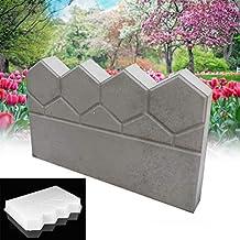 Bureze Molde de plástico para hormigón de jardín, diseño de ladrillo de Cemento