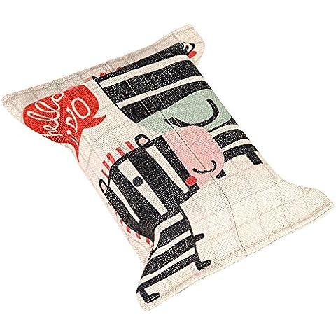 Mr Fantasy portátil rectangular lino y algodón dibujos animados Animal Tissue Servilleta de papel para dispensador de soporte caja de almacenamiento caso para cuadro coche 9,4x