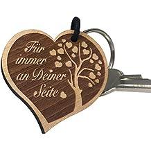 """Schlüsselanhänger Herz aus Holz mit Gravur """"Für immer an Deiner Seite"""" Geschenk für Frau oder Mann Anhänger Design aus Deutschland vom ORIGINAL endlosschenken"""