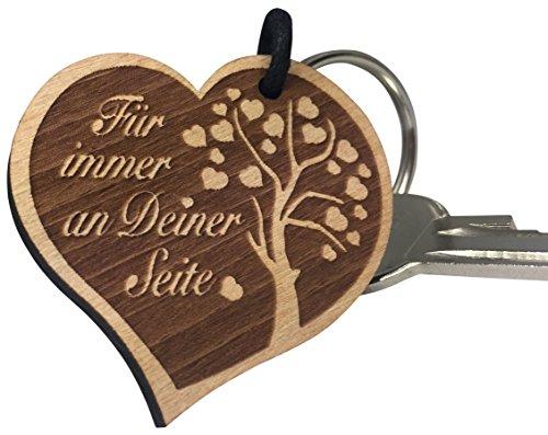endlosschenken Schlüsselanhänger Gravur Herz aus Holz Für Immer an Deiner Seite Geschenk
