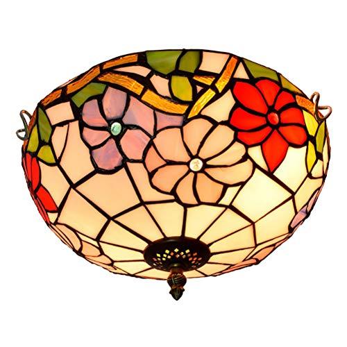Moderne Retro-Decken-Lampe, Tiffany-Art-Haus-Beleuchtung, Festliche rote Buntglas-Aisle Flur Balkon Foyer Schlafzimmer Decke 12 Zoll 30cm Licht, E27 -