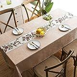 Staubdichte Tischdekoration - Chinesischer Stil Stoff Europäische Klassik, khakifarbene Hibiskus-Tischdecke aus klarem Kirschbaum, 130X220CM, Ideal für den Innen- und Außenbereich für den Gartentisch
