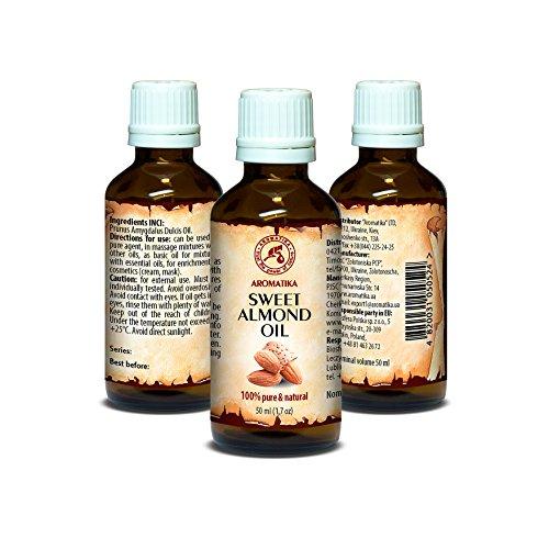 Mandelöl Kaltgepresst 50ml - 100% Reines & Natives Mandel Öl - Intensive Pflege für Gesicht - Körper - Haare - Gut mit Ätherischem Öl - für Massage - Beauty - Körperpflege - Süßes Mandelöl