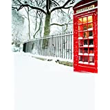 A.Monamour Scenic Winter White Snow Trees With Rimes Hoarfrost Christmas Holiday Mural Party Wall Decorations Vinyl Fabric Photography Backdrops 5x7ft - Telephone Booth Pavement
