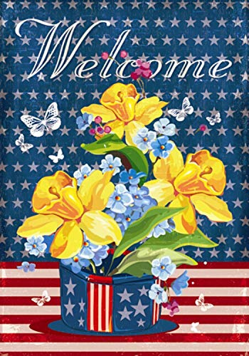 CHKWYN Patriotic Welcome Floral Garden Flag Daffodils Red White and Blue for Party Outdoor Home Decor Size: 12.5-inches W X 18-inches H -