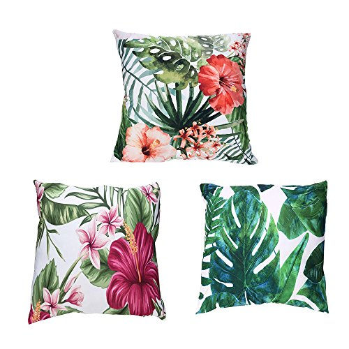 Fossrn 3PC/Conjunto Fundas Cojines 45x45 Tropical Flor Hojas Funda de Cojines para Sofa Jardin Cama Decorativo (01) (01)