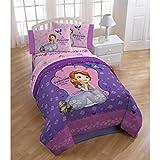 Kid's 13PC Chambre à coucher ensemble: Disney Sofia The First réversible Twin/Full Doudou, Twin Rose de lit, Extra Twin Blanc de lit, couverture, oreiller Buddy, et Lot de 2panneaux de rideaux avec embrasses