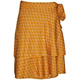 Mogul Interior Womens Magic Wrap Skirt Gypsy Printed Vintage Silk Sari Short Skirt One Size