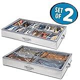 mDesign rangement sous lit (lot de 2) – boite rangement chaussures – une boîte dispose de 4 compartiments – tiroir sous lit peu encombrant – gris